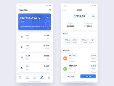 Lockcoin2 blockchain btc eth bitcoin iphonex ios11 clean blue ios iphone ui app