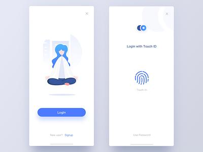 Login1 login touchid illustration iphonex ios11 clean blue ios iphone ue ui app