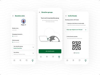 Afrigives - Donation App african profile qr code ngo group modern mobile app ui design fundraising design minimal ux donation ui app mobile charity