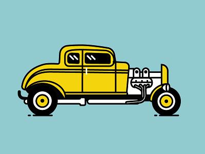 1932 Ford V8 Deuce Coupe vintage line vector illustration car vectober