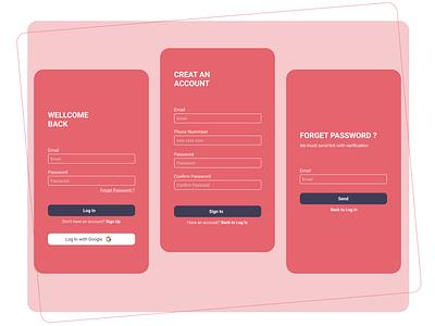 Log In, Sign In and Forgot Password dribble figmadesign design app design uiux designer ui design uiuxdesign uiuxdesigner uiux design uidesign