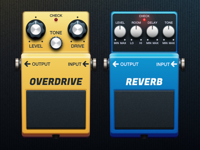 Another 2 pedals pedal realistic guitar effect pedalboard vector sketch