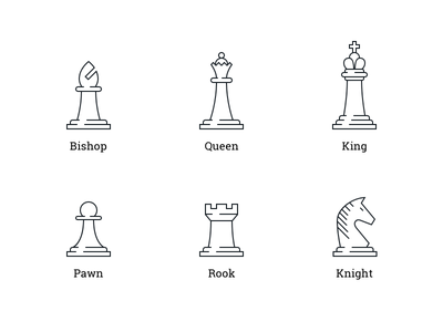 Big Chess Icons king queen knight pawn rook bishop horse big icon chess