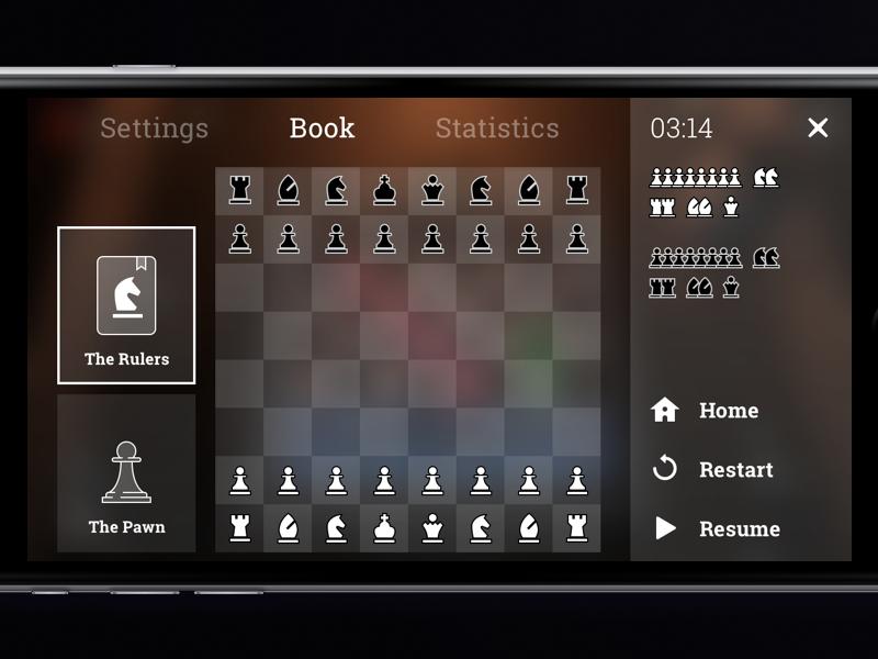 Chess Game Rulers UI queen pawn horse tips rulers ios gui ui menu game chess