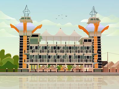 Menara Pandang (The Tower of View) logo vectorartwork indonesia kalsel southborneo tower menara illustrator art vector illustration vectorart vector