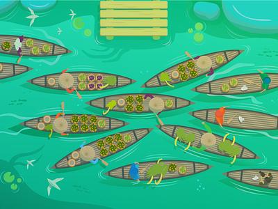 Pasar Terapung (Floating Market) artwork indonesia kalsel banjarmasin art vectorart illustration illustrator vector art vector