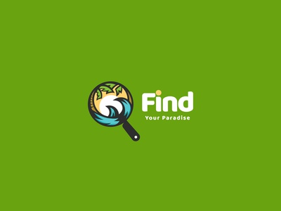 Find Your Paradise Logo Design logo design branddesign brandidentity branding logodesign logo finder beach summer vacation paradise find
