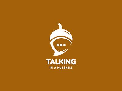 Talking In a Nutshell Logo Design vector branddesign minimalist logo brandidentity branding concept branding logodesign logo peanut nut nutshell talking talk