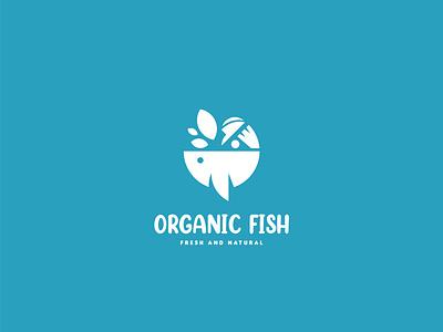 Organic Fish Logo Design illustration design branddesign logo design branding concept branding brandidentity logodesign logo kitchen water sea natural organic fish