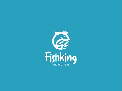 Fishking Logo Design illustration design branding concept logo design branddesign brandidentity logodesign branding logo fishcultivation aquaculture aqua wave kitchen sea water king fish