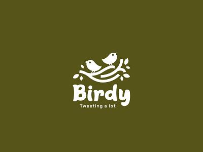 Birdy Logo Design twitter discussion communication design branding concept logo design branddesign brandidentity logodesign branding logo birdy chat talk tweet leaf tree green nature bird