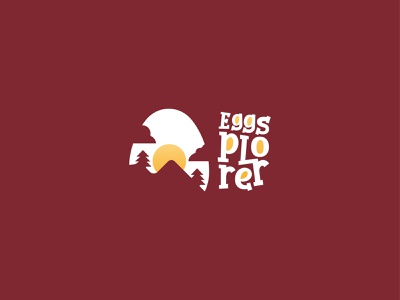 Eggsplorer Logo Design illustration design branding concept logo design branddesign brandidentity logodesign branding logo scout kids fun food explorer mountain sunset sun nature camp eggs