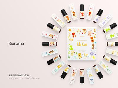 Siuroma | Essential Oil Roll-On Product Packaging Design animal kid box bottle glass c4d 3d siuroma essential oils package design packaging branding logo illustration design
