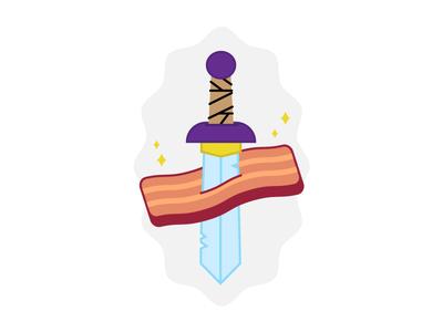the bacon warriors badge sword illustration icon bacon