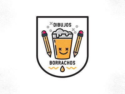 Dibujos Borrachos illustration logo icon badge beer pencil