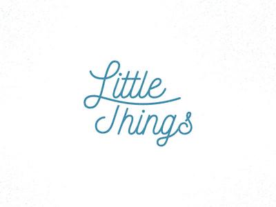 Little things blue logo type handlettering kids