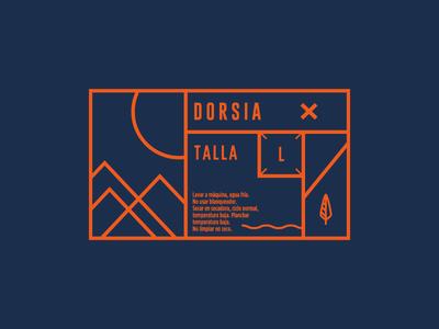 Dorsia orange blue forest outdoors apparel tag