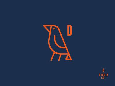 Dorsia bird. cloth branding. icon logo bird climbing
