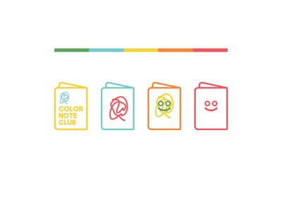 Color Note Club Branding. face sketchbook notes brand identity logo branding design sketcbook branding branding