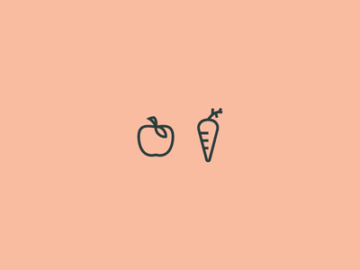 apple&carrot fruits iconography branding juice carrot apple fruit icon