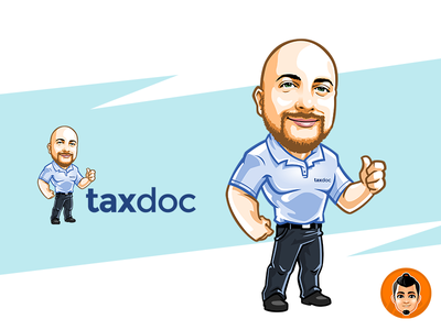 TaxDoc Mascot Logo caricature design logo vector approachable character mascot friendly