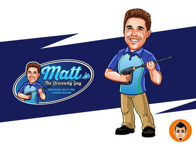 Matt Macot Logo caricature illustration design approachable mascot character happy friendly