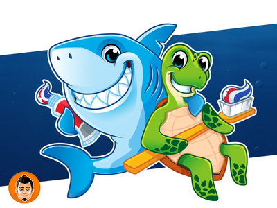 Shark and Sea Turtle Mascot for a dental clinic toothbrush toothpaste dental turtle sea shark