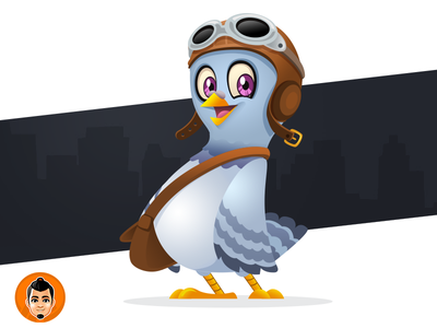 Aviator Pigeon Mascot pilot friendly delivery pigeon aviator