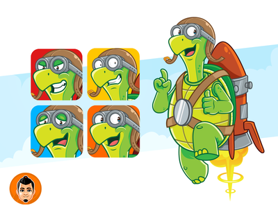 Friendly Turtle Mascot friendly sky goggles rocket