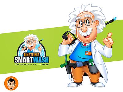 Einstein Wash Logo and Mascot eyeglass lab coat smart intelligent clean wash eisntein