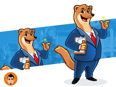 Weasel Mascot suit reliable friendly approachable happy real estate businessman weasel