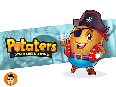 ARRR!  Potato Pirate Mascot and Logo pirate potaters cute character mascot potato