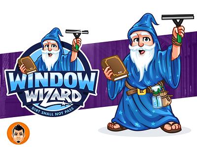 Window Wizard Logo and Mascot squeegee warlock blue cleaning window bible kjv friendly wizard