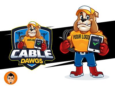 Cable Bulldog Logo and Mascot for sale cable bulldog