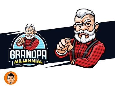 Hip grandpa logo beard white hair grandfather millennial hip lolo grandpa