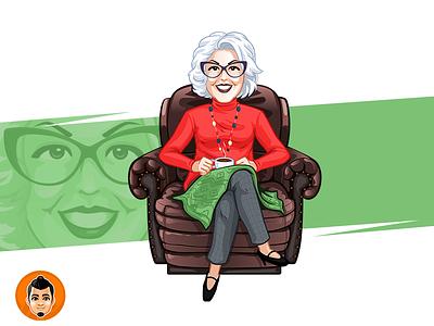Cozy Grandma  Character happy couch grandma cozy friendly