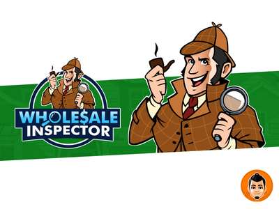 Wholesale Inspector Logo and Mascot inspector detective happy logo design illustration approachable friendly