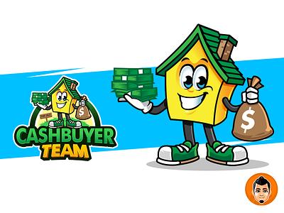 House Cartoon Mascot Logo Holding Cash home character logo mascot cartoon house