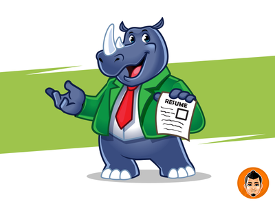 Rhino Character business friendly resume character mascot rhino