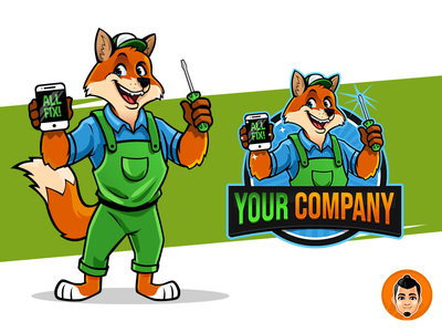 Fox Handyman logo mascot for sale branding vector design illustration approachable happy friendly fox logo cellphone hadnyman mascot character fox
