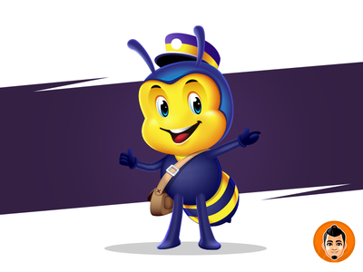 Bee Delivery Mascot for sale mail bee branding design vector illustration adorable logo approachable character cute mascot happy friendly