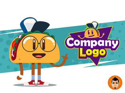 Nerd Taco mascot and logo for sale for sale flat branding vector design illustration adorable logo approachable character cute happy mascot friendly