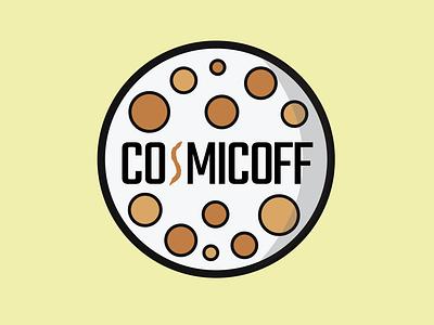 COSMICOFF - Coffee Shop Logo Prompt cosmicoff galaxy cosmos moon clean shop coffee design logo branding badge vector illustrator illustration icon