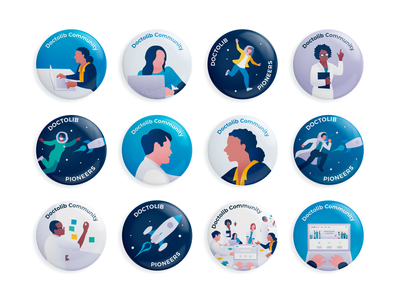 Community badges 👩‍🚀 badge design forums nurses spaceship gamification badges community forum medical appointment doctor illustration healthcare design team character illustration