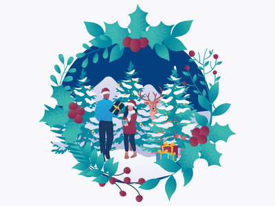 Christmas illustrations 🎅 christmas card gradient family merry christmas santaclaus gifts presents character illustration christmas party animal illustration christmas trees branding illustration doctor santa christmas tree christmas
