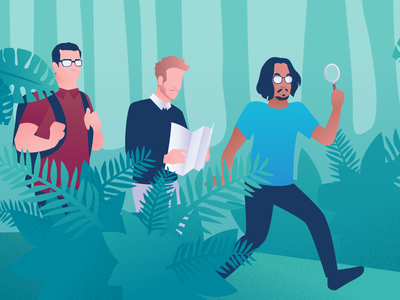 Field trips help you write better software illustrations cover artwork researcher research character illustration jungle user testing ux research user research illustration cover article cover
