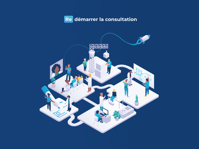 🚀 Redémarrer la consultation - Special keynote announcement drawing rocket character illustration character design isometric design isometric art isometric illustration product launch medecine medical healthcare health doctor consultation launch isometric