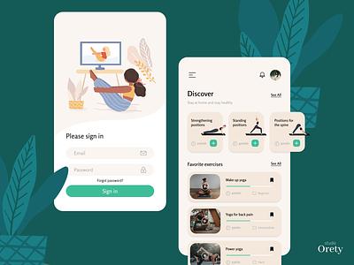 Yoga App fitness mobile login app courses sport design uiux uidesign ui yoga pose yoga app yoga