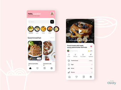 Recipes app concept 🥑 chinese food ingredients pink concept favourite searcher filters pancake breakfast dinner dish food daily ui iphone mobile app design ui design ux  ui recipes recipe