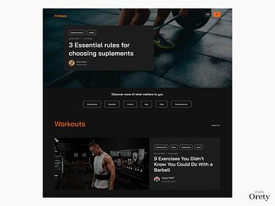 Blog design for FitMate App blog post sports design app ui uidesign black design blog design fitness app nutrition blog